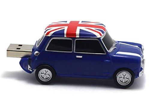 Homiki Memoria USB 2.0 Coche Vehículo PVC Plástico con Bandera de UK Pendrive Personalizados Originales Alta Velocidad (32G, azul)