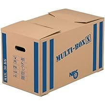 Nips Multi-Box X - Cajas de mudanza (10 unidades, 64,5 x 34,5 x 37 cm), color marrón con rayas azules