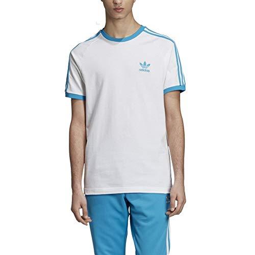 adidas Originals T-Shirt Herren 3-Stripes Tee DZ4586 Weiss Blau, Größe:M Originals 3 Stripes Trefoil