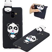 Gummi TPU Hülle für Galaxy A8 2018,Weich Silikon HandyHülle für Galaxy A8 2018,Moiky Stilvoll 3D Niedlich Panda Entwurf Soft Flexibel Stoßdämpfende Rückseite Handytasche