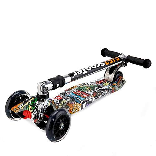 SSLC Tretroller,Kinderroller Dreiradscooter mit LED Große Räder 2 Hinterräder-Design Stabil Stoßdämpfung,Höheverstellbarem Schwerkraftlenkung ab 3 Jahre bis 100kg Belastbar, Red Graffiti