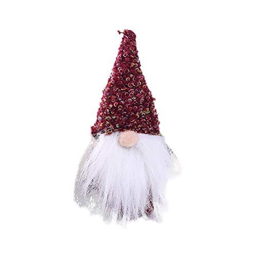 (Etophigh Mini Handmade schwedische Tomte Weihnachten Weihnachtsmann Plüsch Figuren Desktop Ornamente Home Decor Sammlerstück Puppen)