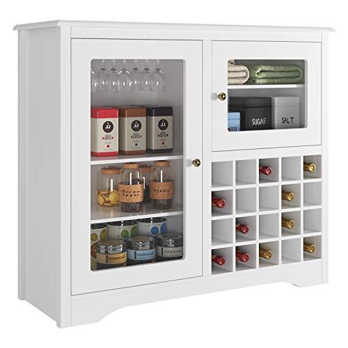 HOMECHO Bar Weinschrank Buffetschrank für 20 Flaschen und 9 Gläser Flaschenregal Sideboard Weiß Anrichte für Küche Wohnzimmer Arbeitszimmer Keller H x B x T: ca. 82 x 95 x 32 cm