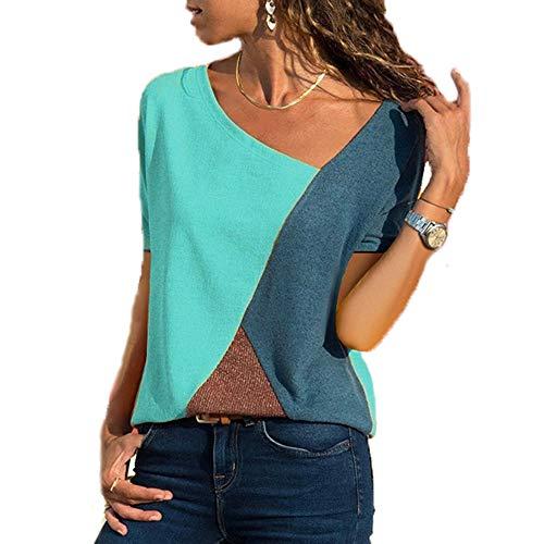 Yutila Damen Casual Patchwork Farbblock Kurzarm T-Shirt Sommer Mode Asymmetrischer V-Ausschnitt Oberteile, Grün, L(EU 40)
