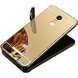Vandot Premium Funda Aluminio para Xiaomi Redmi Note 3 / Note 3 Pro Bumper Case del Metal Ultra Thin Espejo Efecto [Fusion Mirror] Trasero Case Cover Protección [Resistente a Arañazos] y [Choque Absorcion] Carcasa Caso - Oro Dorada