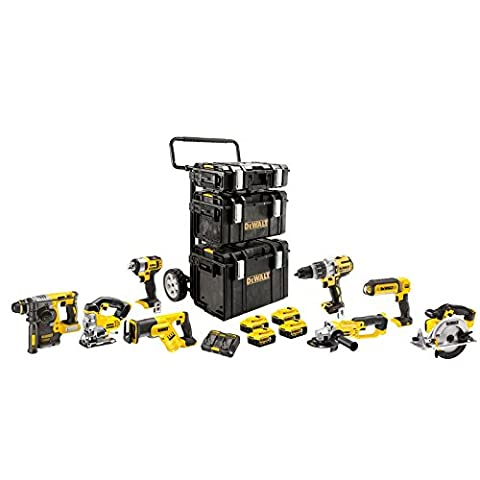 DeWALT Akku-Kombopack DCK896P4-QW, beinhaltet 8 XR Geräte mit 3 Koffern, Trolley, inklusive 4x Li-Ion Akku 18,0 V 5,0
