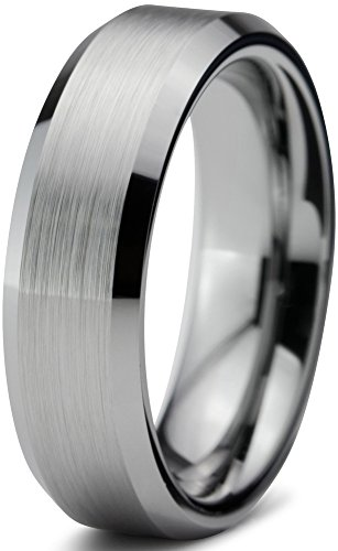 Tungsten Wedding Band Ring 6mm for Men Women Comfort Fit Grey Beveled Edge Brushed Lifetime Guarantee Size R 1/2