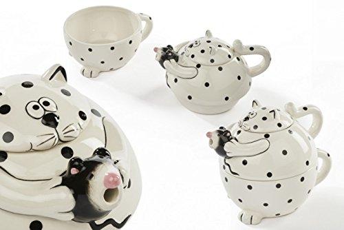 Katze und Maus Tea for One Teekanne und Tasse, gepunktet schwarz und weiß Keramik Küche Geschenk von '®