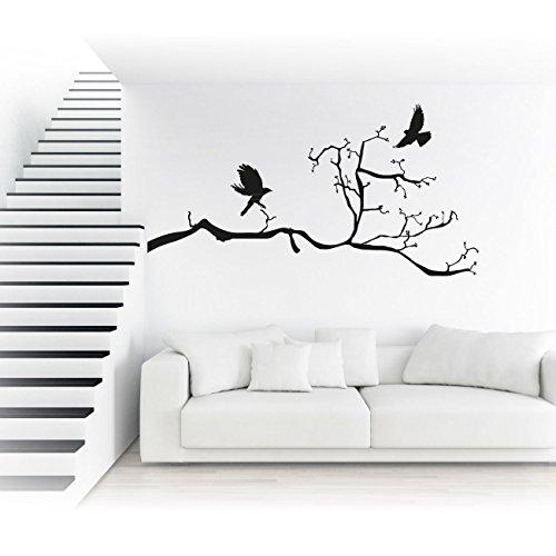 Ast mit Raben Wandtattoo Tolle Sticker als Wand Aufkleber Baumzweig Tiere Vögel Moiv Wall Art  KA200