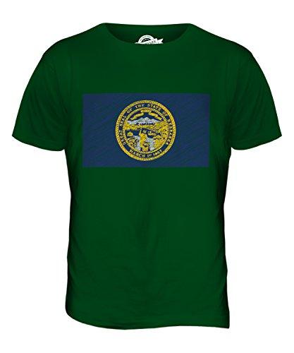 CandyMix Bundesstaat Nebraska Kritzelte Flagge Herren T Shirt Flaschengrün