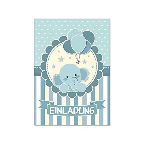 15 Geburtstags Einladungskarten I dv_174 I DIN A6 I Einladung Set Kinder-Geburtstag Baby-Party Baby-Shower zum Ausfüllen für Kinder Jungen Jungs blau