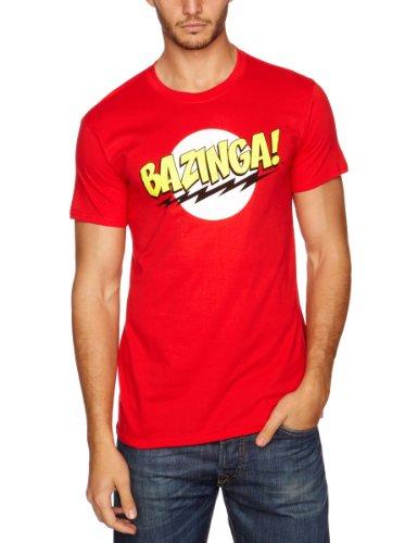 Big Bang Theory Herren, T-Shirt, Bazinga, Rot, Large (Herstellergröße: Large)
