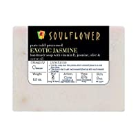 Jasmine Handmade Soap with Coconut Oil, 100% Natural, Organic, Vegan & Cold-processed,USFDA approved, Chemical and Preservative Free, Indian Formulation, 5.3 Oz, 1 Bar.