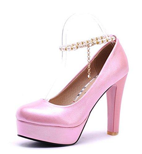 Aisun Damen Süß Künstliche Perlen Metall Knöchelriemchen Trichterabsatz Pumps Pink 41 EU SiR5Iha