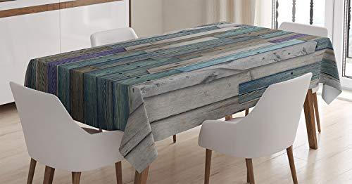 ABAKUHAUS Rustikal Tischdecke, Blaues Grau Planks Grunge, Für den Inn und Outdoor Bereich geeignet Waschbar Druck Klar Kein Verblassen, 140 x 200 cm, Grün Blau