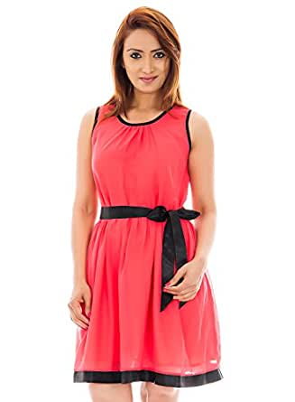 Carrot Color Dress With Beautifull Gathering And Black Satin Belt For Perfect Fit