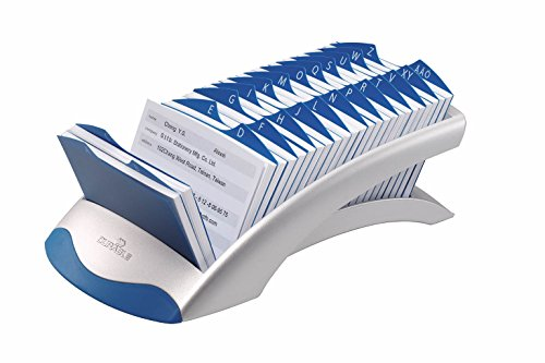 DURABLE 241223 - Telindex Desk Vegas, schedario da scrivania per rubrica, 500 schede, indice alfabetico 25 tasti, 131x67x245 mm, argento metallizzato
