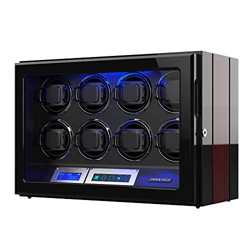 Uhrenbeweger für 8 Automatikuhren, Holz-Finish, LCD-Touchscreen-Display mit Verstellbaren Uhrenkissen, Eingebaute Beleuchtung Antrieb Durch Extrem Leisen Motor (Black 2)