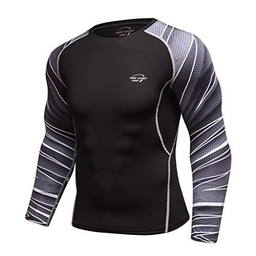 Fenverk Herren Funktionsshirt Kompressionsshirt Fitness Unterhemd Rundhals-Ausschnitt Tight Dual FunktionswäSche Base Layer Langarm(Grau-01,XL)