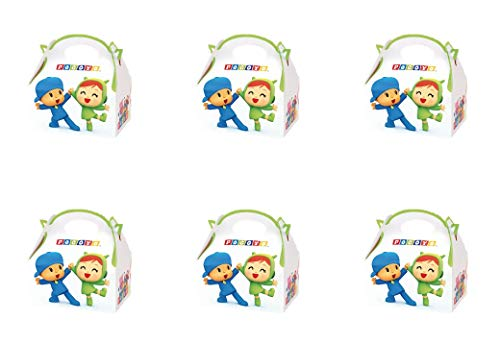ALMACENESADAN 0652, Pack 6 cajitas de Carton para chuches Pocoyo y Nina, para Fiestas y cumpleaños