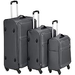 AmazonBasics Ensemble de valises légères souples à roulettes - Ensemble 3 pièces (56cm, 69cm, 81cm), Gris