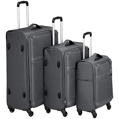 AmazonBasics - Trolley da viaggio morbido e leggero, Set da 3 pezzi (56 cm, 69 cm e 81 cm), Grigio
