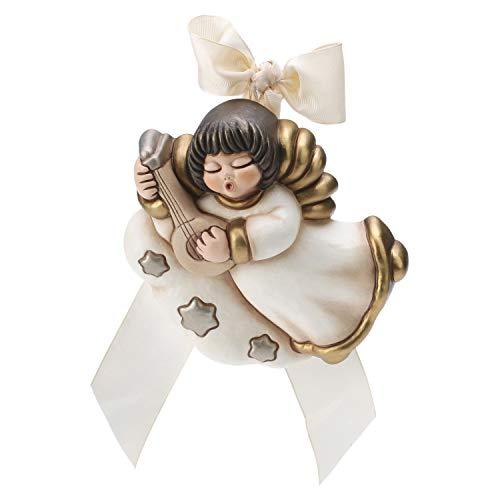 Thun® - angelo da parete con mandolino - formella con fiocco bianco - ceramica - linea i classici