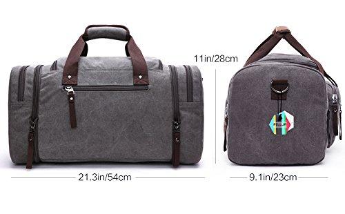 Pellor Borsa di spalla di viaggio di grande tela di canapa borsa universale unisex (nero) grigio