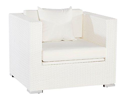 Outflexx Sessel, inklusive Polster und Kissen, Kissenbox funktion, Polyrattan, Weiß, 145 x 85 x 70...