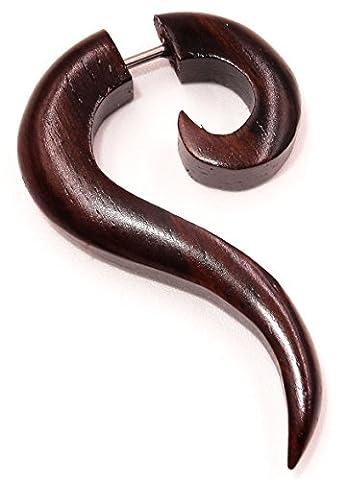 Faux Ecarteur Bois Boucle d'oreille Piercing spirale Wooden Gauge expander Earring Fake marron