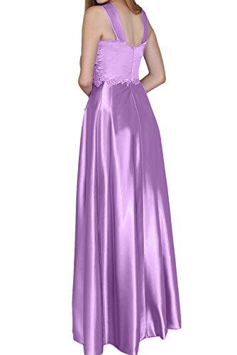TOSKANA BRAUT Damen modisch bodenlang Aermellos zwei Traeger Satin Spitze  Applikation Strass Falte Brautfern Kleid Abendkleid Partykleid Grün