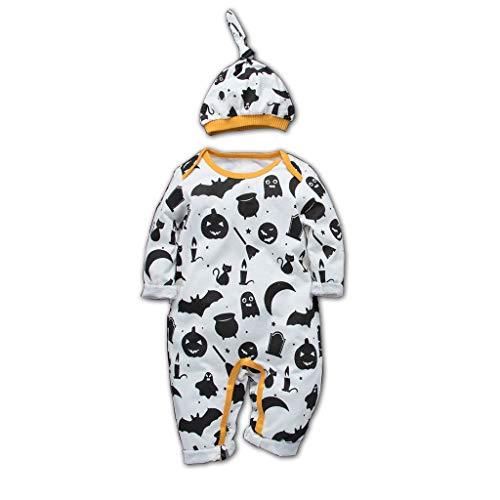 Lazzboy Kleinkind Baby Kinder Mädchen Jungen Halloween Strampler Bodysuit + Cap Outfits Set Kleidung Neugeboren Kostüm Kind Kinderkostüme Niedlich Kürbis Drucken(Schwarz,Höhe:90) (Rennfahrer Kostüm Kinder Mädchen)