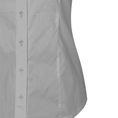 84879b9d0672 ... SUNNOW® Modisch Damen Shirt Kurzarm Revers Schlank Hemd Arbeit V- Ausschnitt mit Knöpfe Casual ...