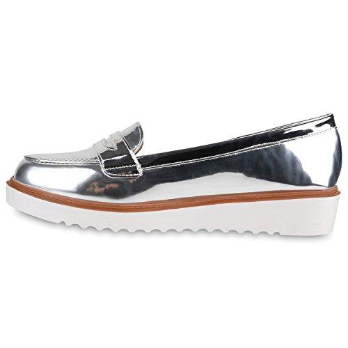 9ba2840a204069 Damen Loafers Lack Slipper Profil Sohle College Schuhe Silber -toman ...