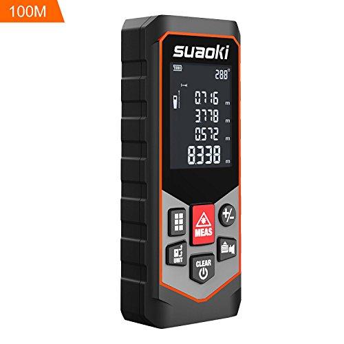 Suaoki 100m Laser-Entfernungsmesser, Messung von Distanz, Flächen, Volumen, Laser Distanzmessgerät mit LCD Display Entfernungsmessergerät