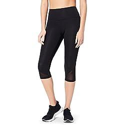 Core 10 Leggings Tiro Alto Capri con Rejilla Mujer, Negro (black), Medium