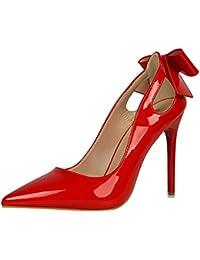 wealsex Escarpins Noeud Cuir Vernis Talon Haut Aiguilles Sexy Bout Pointu  Chaussure Mode Simple Bureau Soirée 47f141a6ff29