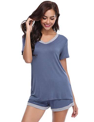 Abollria set pigiama donna estivo, pigiami due pezzi da donna in cotone al 95%, pigiama donna corto, maniche corte in cotone navy m