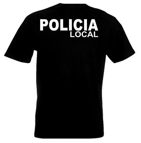 Weiß Polizei Schwarz Und Kostüm - T-Shirt POLICIA Polizei Police Funshirt Kostüm-Tshirt auch mit eigenem Wunschname, Verein, Ort etc. (S, schwarz/weiß)