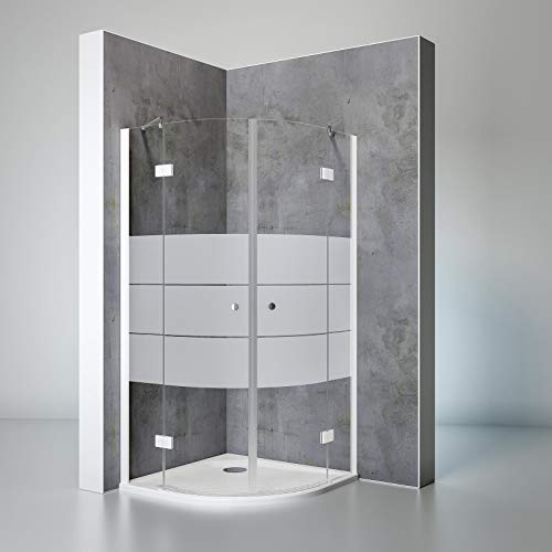 Schulte Duschkabine Runddusche Youngline, 90 x 90 cm, 190 cm, 5 mm Sicherheits-Glas Depoli-light, alpin-weiß, Montage auf Duschwanne oder Fliese