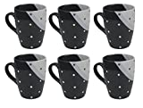Kaffeetassen / Kaffeebecher aus Steinzeug von Retsch Arzberg - 350ml (Grau/Anthrazit, 6 Stück)