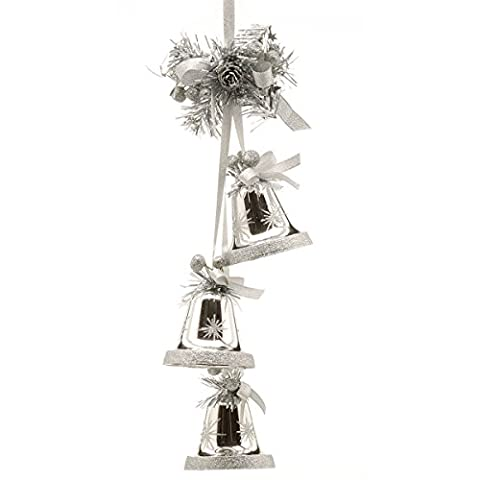 8CM HOME GOLD SILVER RIBBON BELL CLUSTER CHRISTMAS TREE DECORATION ORNAMENT (Silver)