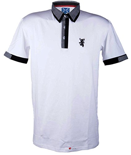 Mens Fashion Polo Shirt White with Black Collar - Large