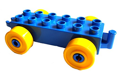 Lego Duplo Auto Anhänger Stein 2x6 blau + gelbe Räder Eisenbahn