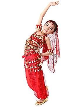 CoastaCloud-5 Piezas Belly Dance Danza Baile India de Niños Vestido Nueva Rojo S (Top,Falda,Velo de Cabeza,Cinturón...