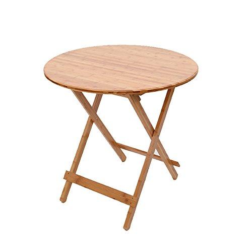 ZHIRONG Table ronde se pliante d'art de bambou, table de pique-nique portative, table de restaurant (taille : 80 * 80cm)