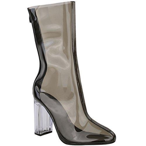 Femmes Mesdames Bottines Perspex Transparent Talon Haut Bloc Soirée Mode Chaussures Pointure Fumée Noire / Transparent Talon