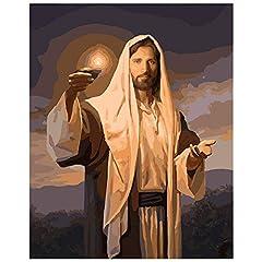 Idea Regalo - Fai da Te Olio su Tela by Numbers Digital Oil Painting Lampada a Olio in Mano di Gesù Figura Tela Decorazione di Cerimonia Nuziale Immagine Artistica Regalo Senza Cornice,60x75cm