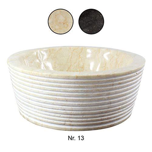 Marmor Waschbecken Handwaschbecken Aufsatzwaschbecken Natursteinwaschbecken Waschtisch 30cm Stein Natur Rund Creme Nr. 13