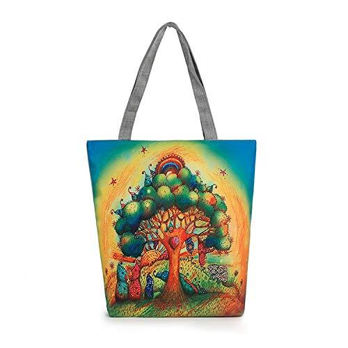 Damen Canvas Owl Pattern Canvas Umhängetasche Reisetaschen Umhängetasche Satchel Tote Handtasche Arbeitstasche Weekend Shopping Big Bag zum Verkauf Ausverkauf